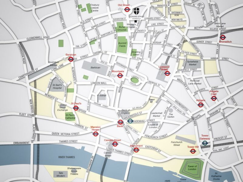 London - The City map